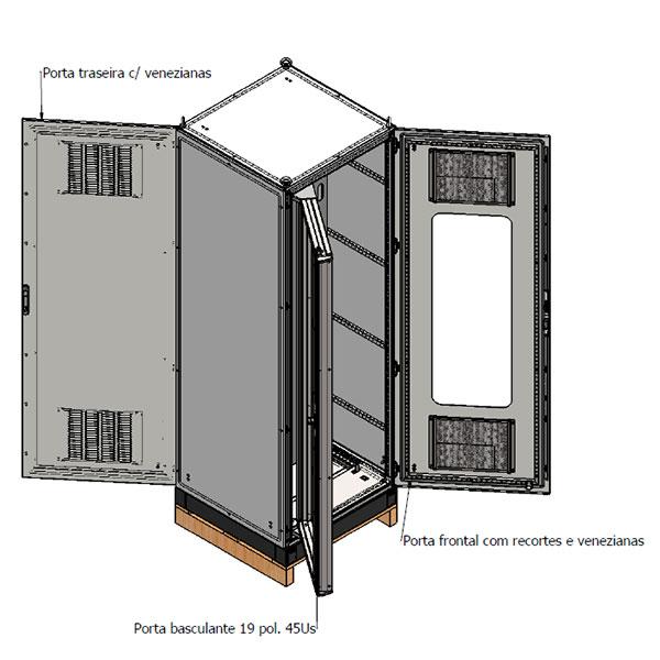 """Armário com rack basculante 19"""", porta frontal com visor, placas de montagem frontal e traseira ajustáveis, porta traseira e sistema de ventilação."""