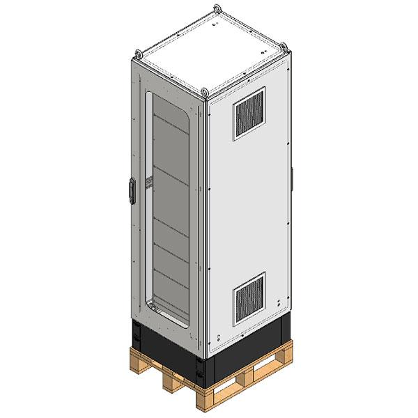 Armário com portas frontal e traseira, placas de montagem frontal e traseira, visor em policarbonato, chapas frontais removíveis para proteção e sistema de ventilação.