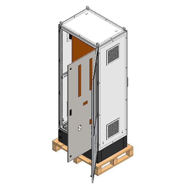 """Armário com porta interna com furações que serve de """"máscara"""" para os disjuntores, placa de montagem laranja RAL 2000 e venezianas para ventilação interna."""