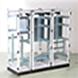 Devido à sua simetria os armários podem ser acoplados de inúmeras maneiras.